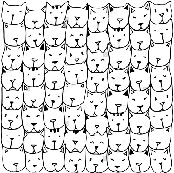 Vintage cat faces Pattern