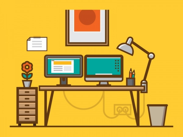 workspace computer desk vector