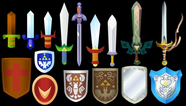 Zelda Swords And Shields Vector