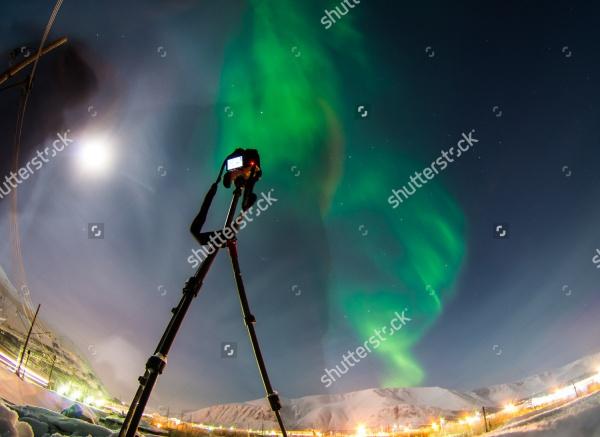 amazing green aurora borealis