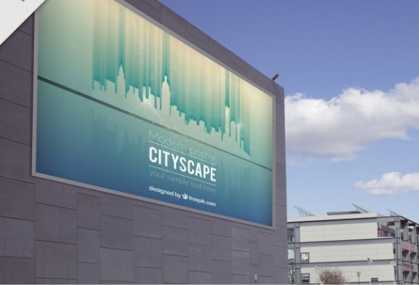 billboard of cityscape Mockup