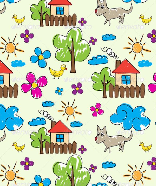 cartoon doodle pattern