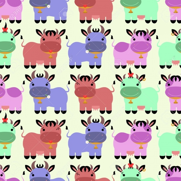 colorful cartoon cows pattern