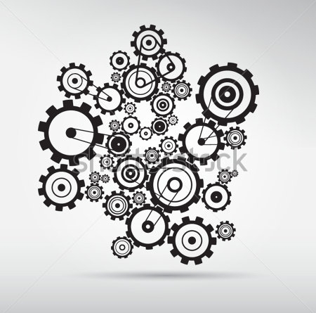 gear vectors on grey background