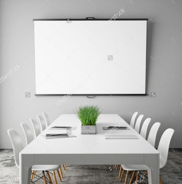 hipster interior mock up projection screen