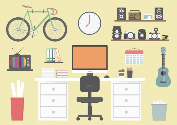 hipster workspace vector