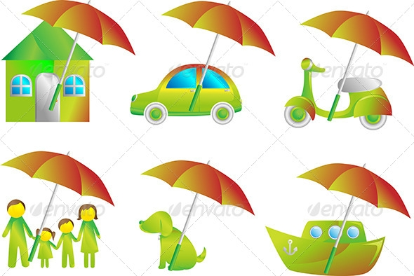 illustration of a set of insurance icons