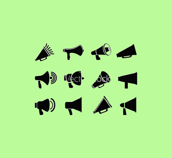 isolated black megaphone icons