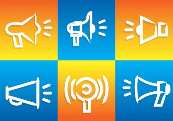 megaphone white line icons