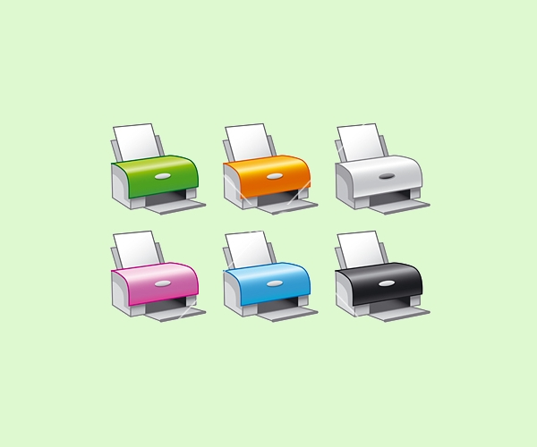 printer icons in multiple colors
