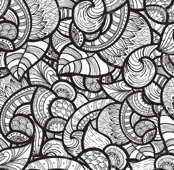 seamless ethnic doodle monochrome pattern