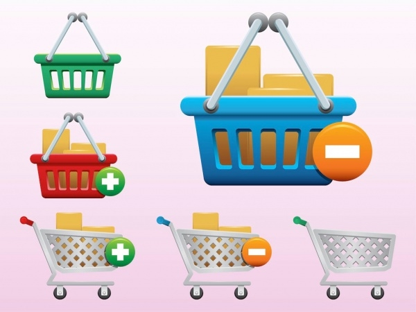 shopping carts with cardboard Vectors