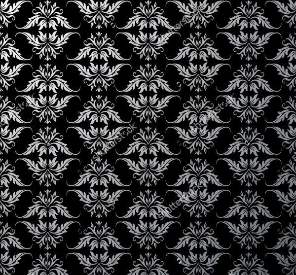 silver baroque pattern on black