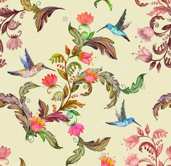 tropical flora and birds Pattern