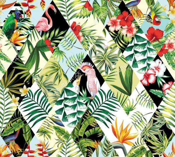 tropical patchwork seamless Pattern