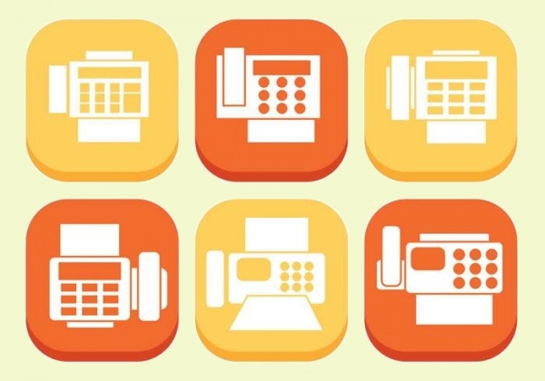 various fax icons in flat style