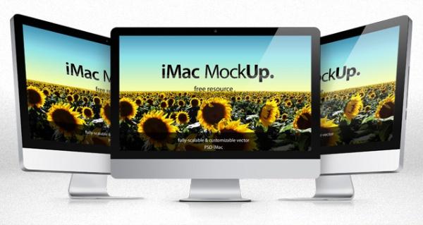 iMac vector shape psd mockup