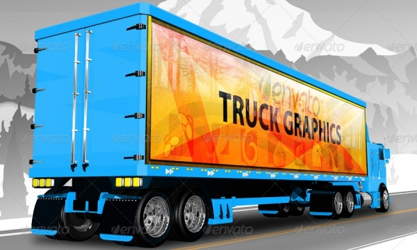 Photorealistic Truck Mock-up PSD