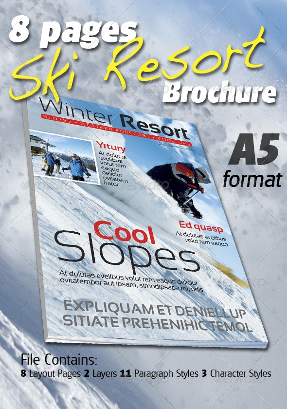 8 Pages Ski Resort Brochure