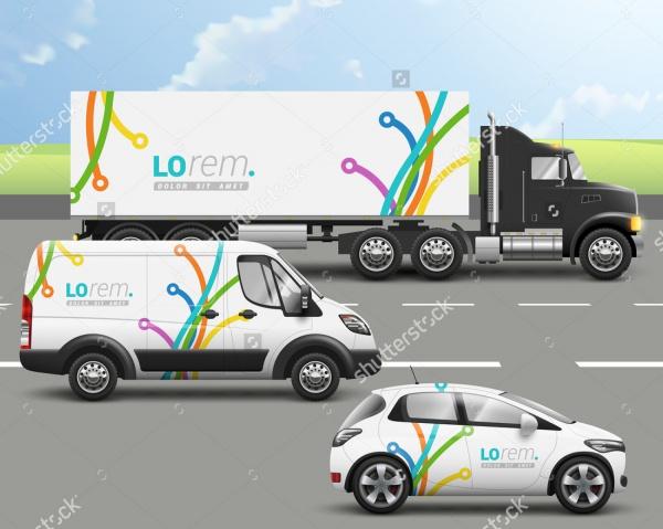 A4 Truck Advertisement Mock-up Design