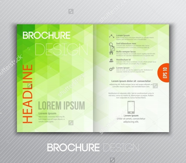 Abstract brochure design with green geometric
