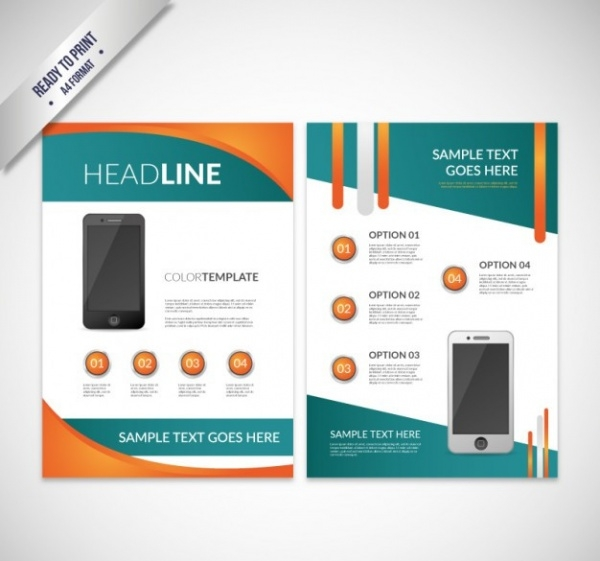 Abstract brochure with mobile phone