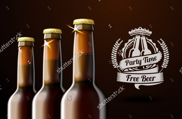 Advertisement Brown Beer Bottles Mock-up