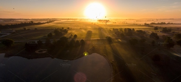 Aerial View of Rising Sun Photography