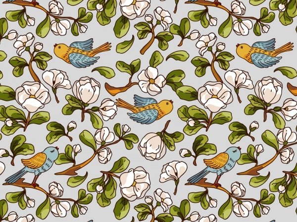 Apple Blossom and Birds Pattern