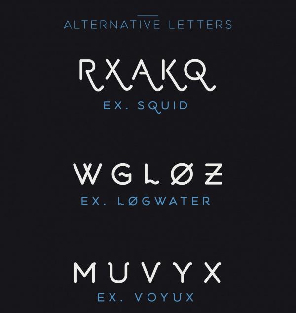 Aquatico Alphabetical Typeface Font