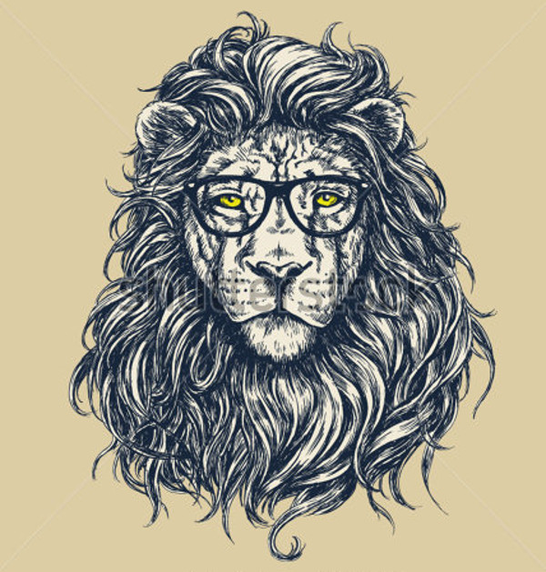 Awesome Hipster lion vector