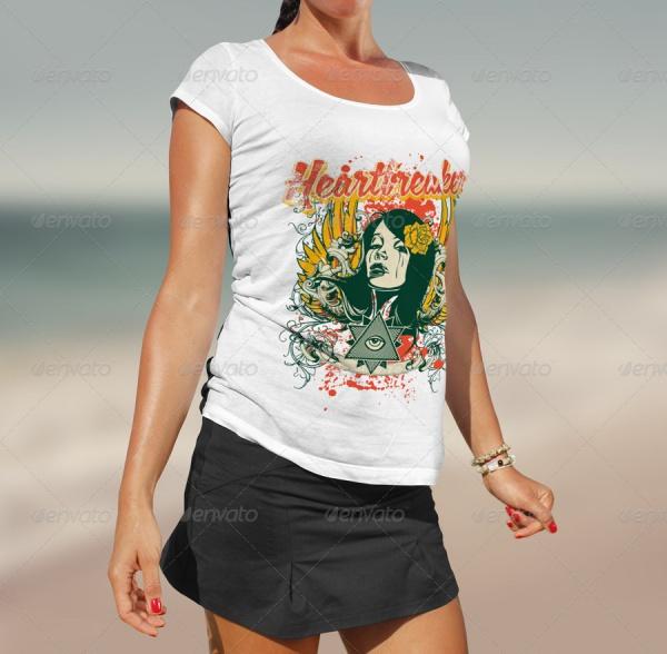 Beach T-Shirt Mock-up