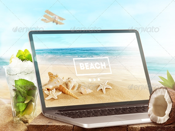 Beach style Laptop and tablet Mock-Up