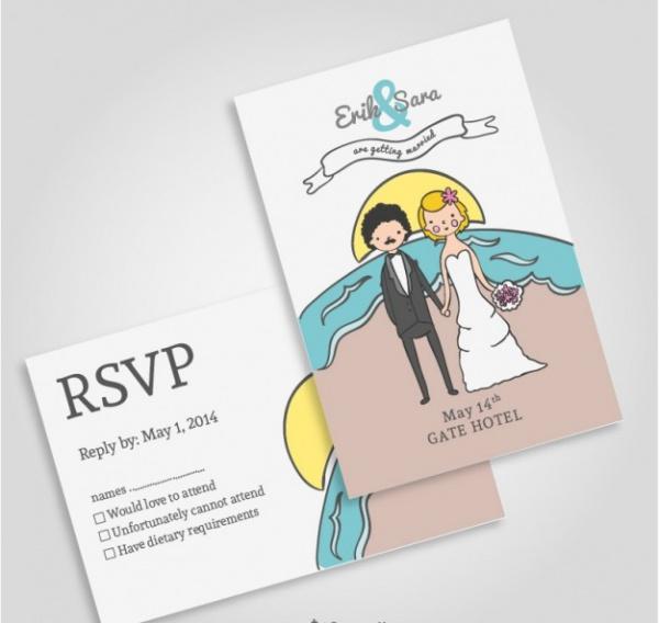 Beach wedding invitation mock-up