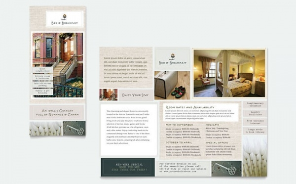 Bed & Breakfast Motel Tri Fold Brochure