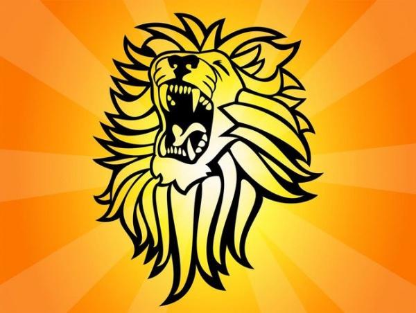 Black Lion Head Roaring Vector