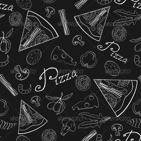 Black and White Pizza Pattern