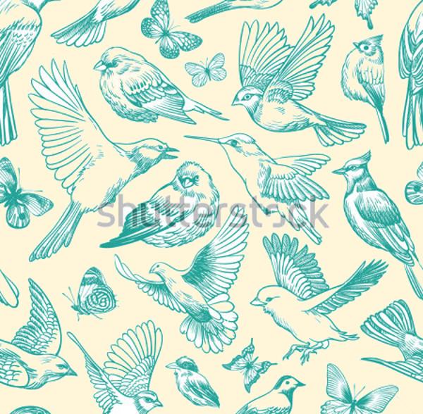 Blue Birds and Butterflies Seamless Pattern
