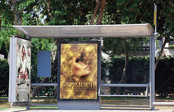 bus stop flyer poster mockup1
