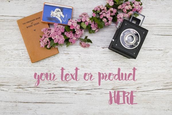 Camera Floral Desktop Mockup