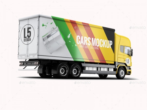 Cargo Truck Mock-up For Advertisement