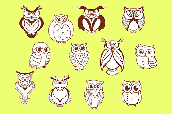 Cartoon Vector Owl Characters