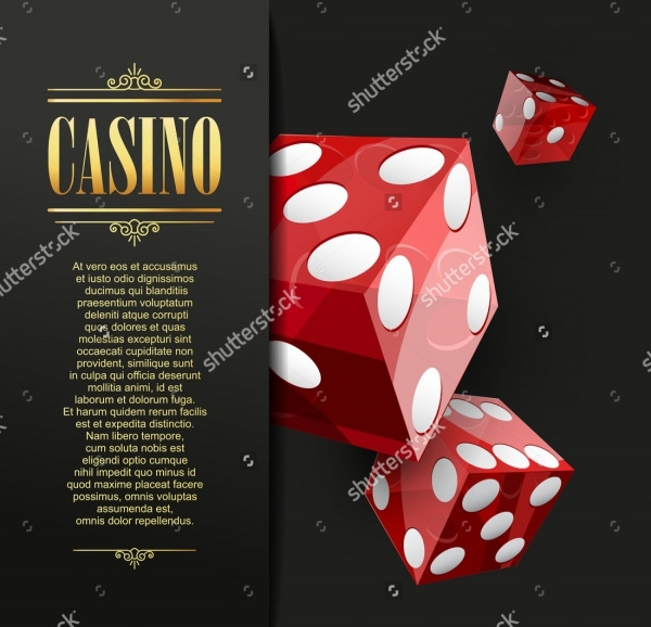 casino flyer design with red dice