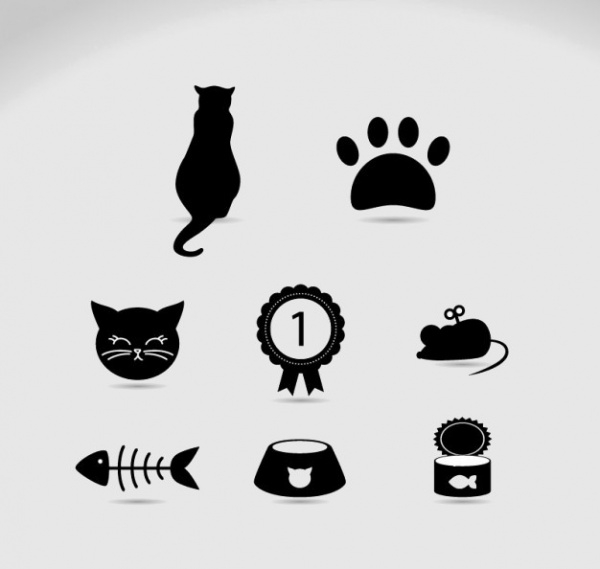 Cat Pet Icons Vector