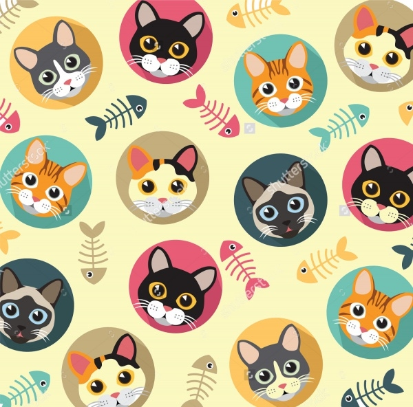 Cats and fishbone vector pattern