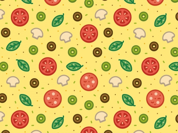 Cheese Food Pizza Mushroom Pattern