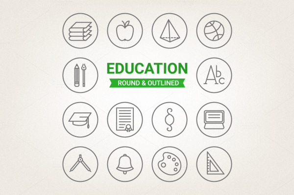 Circle education icons