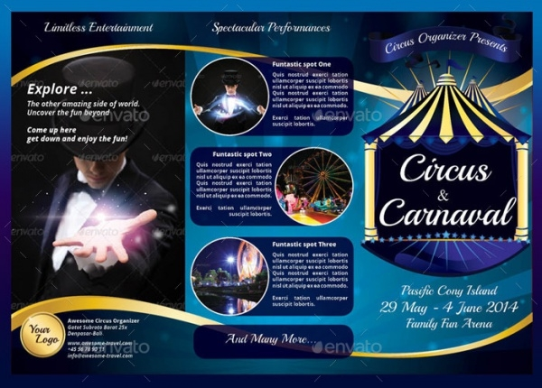 Circus Carnival 3 colour Trifold Brochure