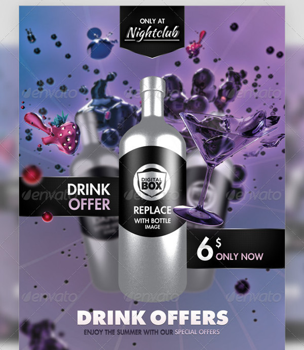 Club Drinks Advertisement Flyer