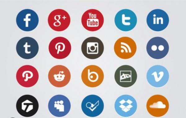 Colored social media circle icons